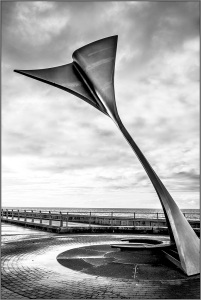 monochrome SHAPES on the SHORELINE, Fish-Tail, Blackpool Promenade,shelter