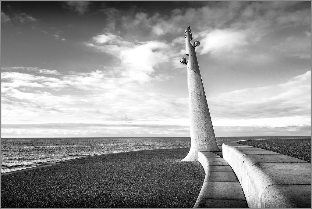 SHAPES on the SHORELINE,monochrome Cleveleys, lights