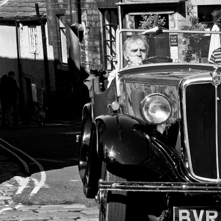 Vintage Car, driver, Haworth, Yorkshire