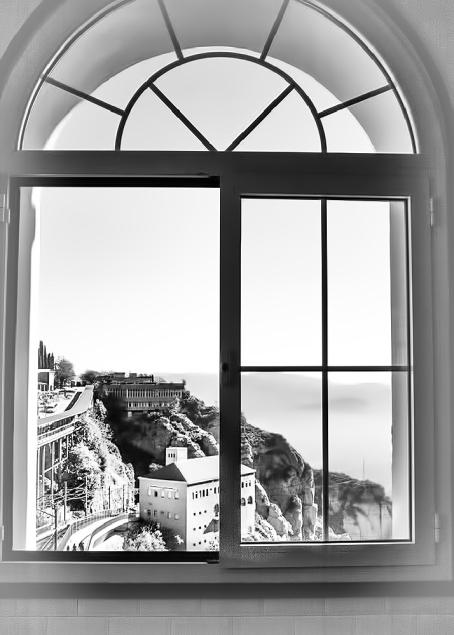 Through a window monochrome