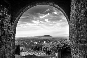 Pendle from Clitheroe Castle monochrome Lancashire