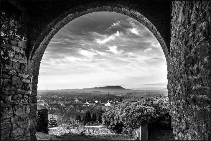 Pendle from Clitheroe Castle monochrome Lancashire