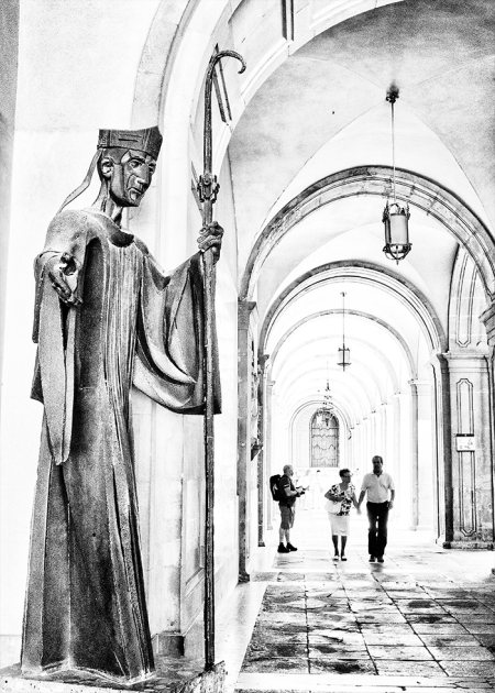 Monserrat Monastery Barcelona monochrome