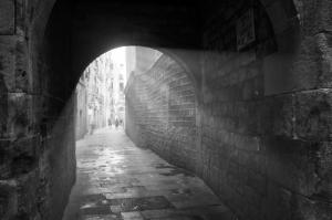 Light Rays monochrome Barcelona street