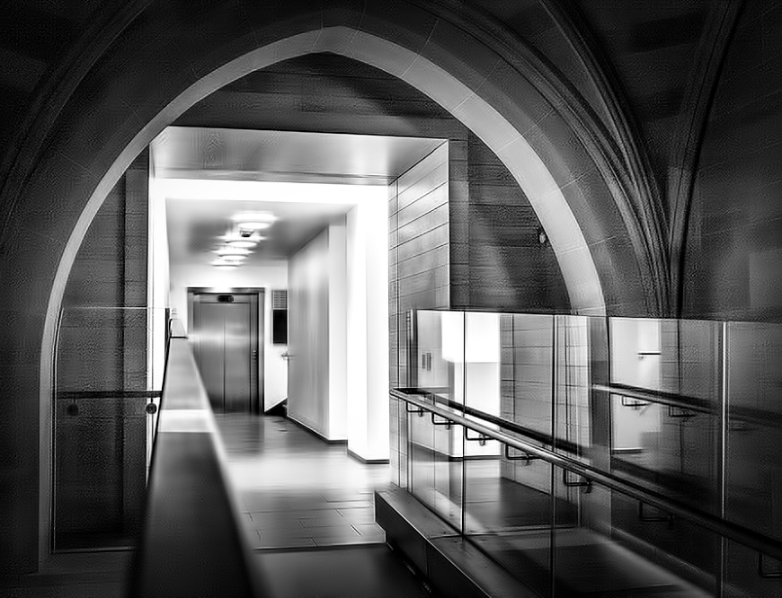 Rylands Library Manchester monochrome