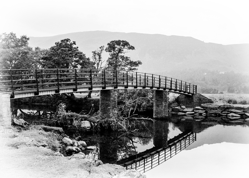 monochrome, reflections, borrow dale, derwent