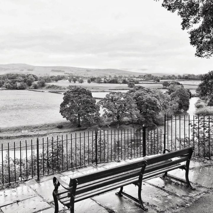 monochrome Ruskin's View, empty chairs