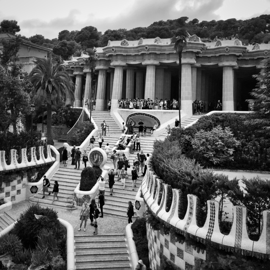 Parc Güellstairs by Gaudi in Barcelona