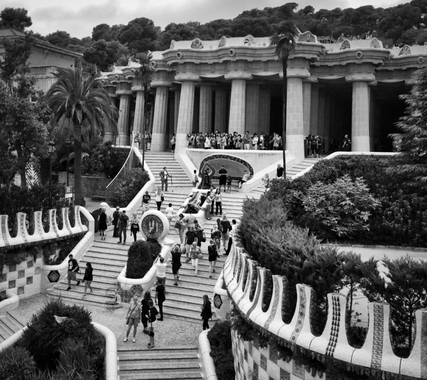 Parc Güellstairs by Gaudi in Barcelona