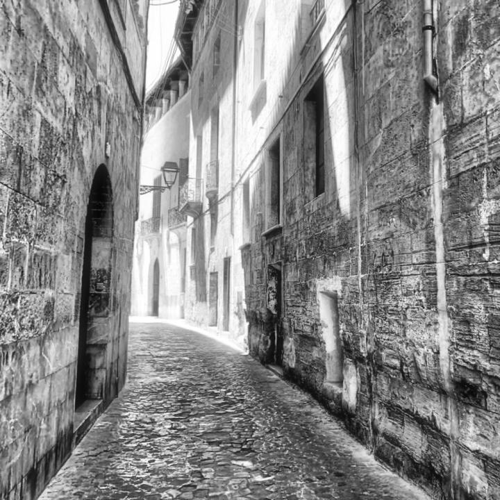 Palma street in monochrome