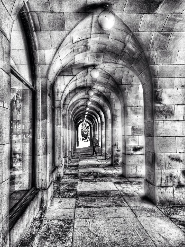 Arches in Manchester monochrome